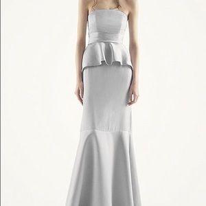 Vera Wang Peplum Gown Charcoal Bridesmaid Prom